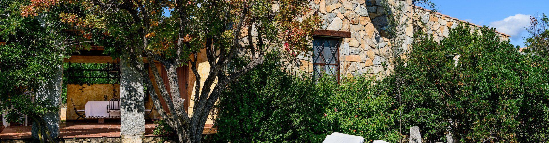 Garten mit Sonnenliegen und Hauseingang zur Meloni 2 in Sant Elmo