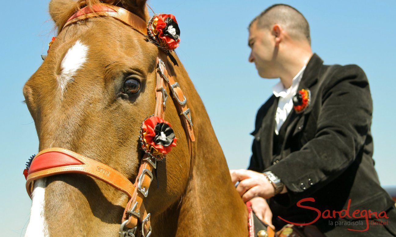 Pferdekopf mit geschmücktem Geschirr und seinem Reiter in schwarzem Samtanzug