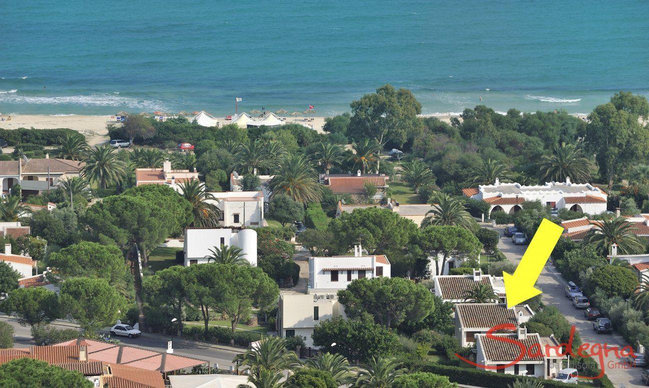 Lage des Hauses an der Costa Rei