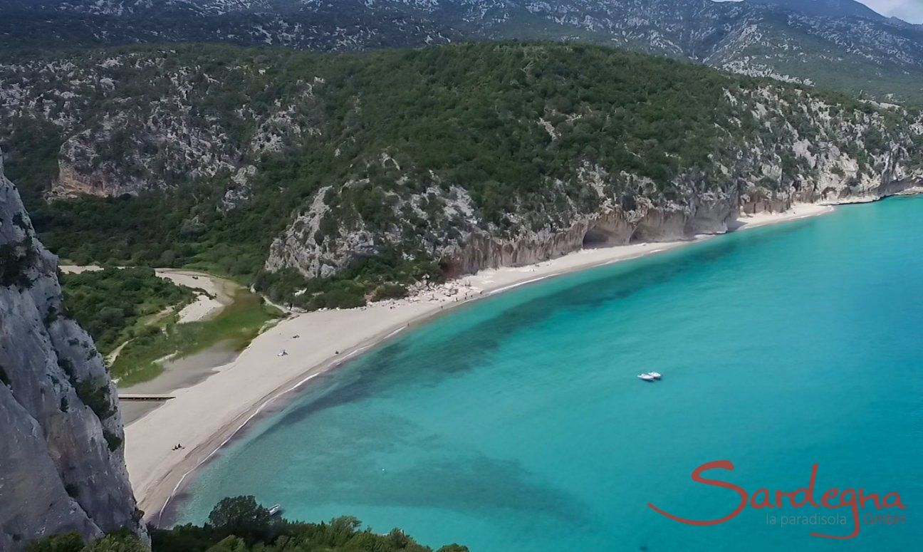 Luftansicht vom Strand Cala Luna