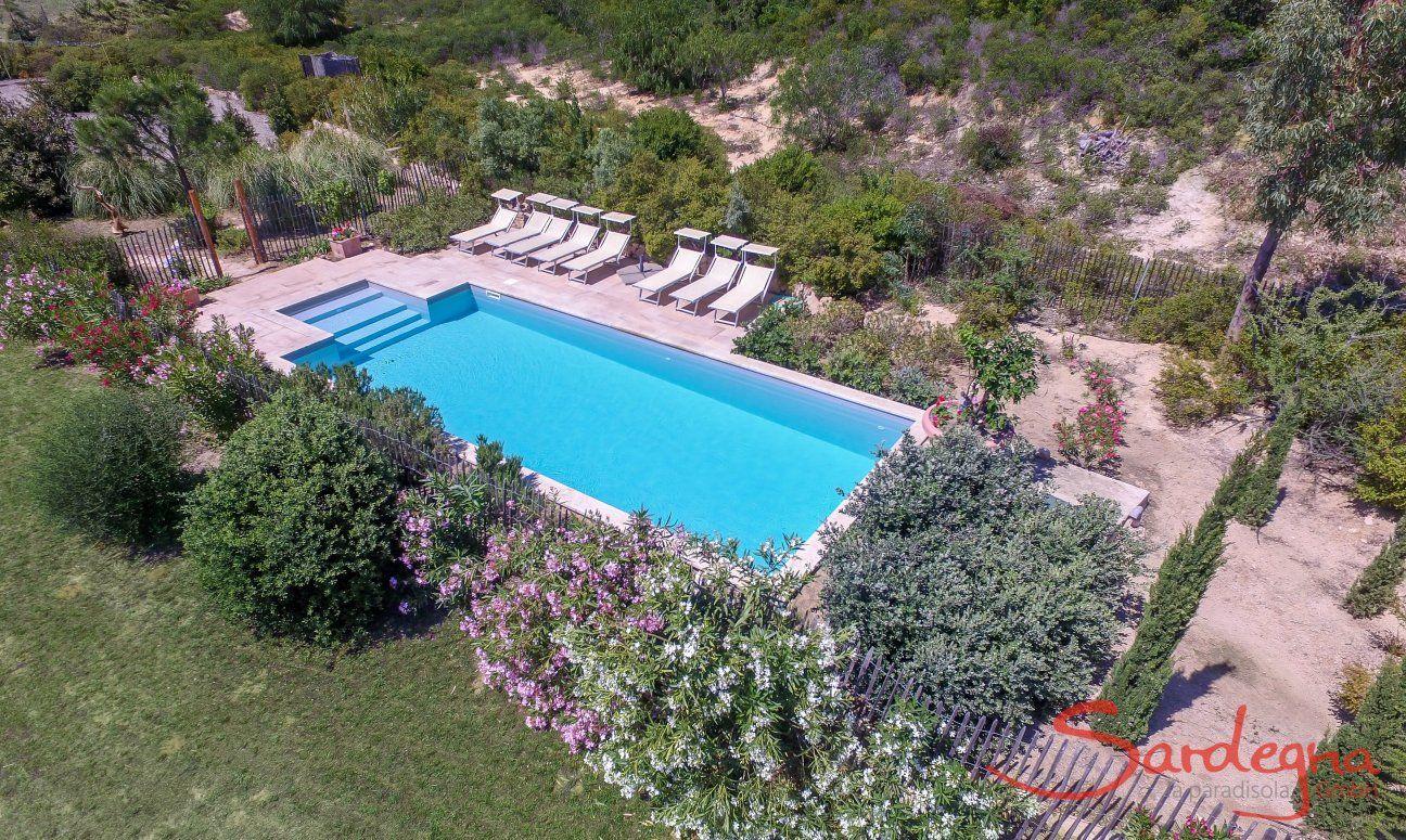 Luftansicht der Pool-Landschaft mit den mediterranen Pflanzen