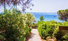 Weg durch grüne mediterrane Macchia zum Strand Le Bombarde Alghero